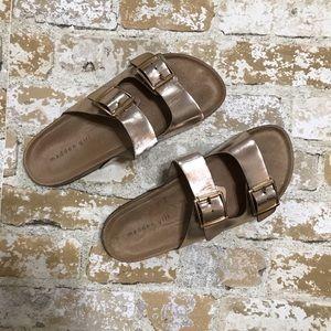 Madden Girl Metallic Rose Gold Slides Sandals